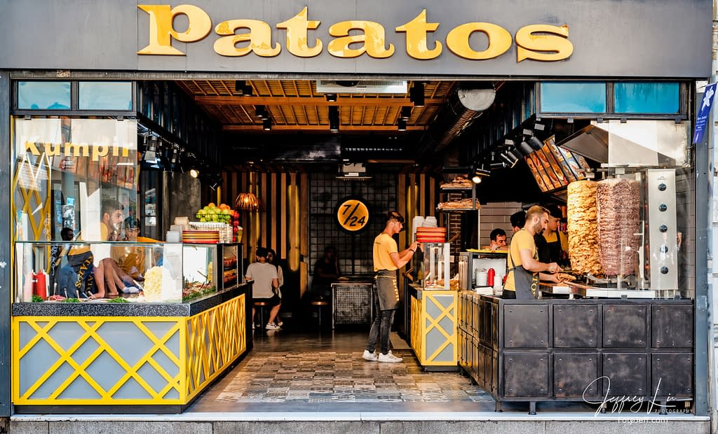 16. Patatos, a Turkish Fastfood with Baked Potatoes and Chicken Doner Kebab Speciality