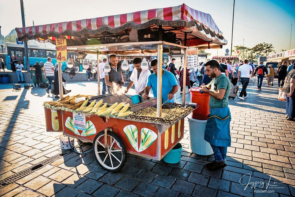 46. Istanbul Street Food, Sweet Corn (Süt Mısır) and Chestnuts (Kestane)