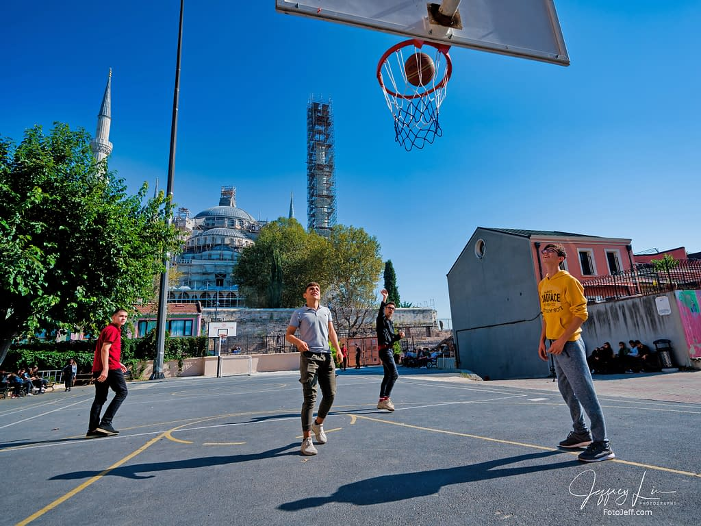 95. High School Students Play Basketball